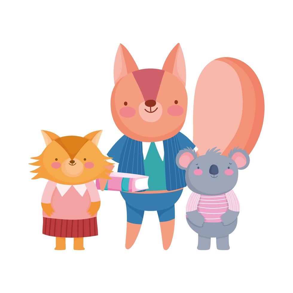 zurück in die Schule, Eichhörnchen Koala und Fuchs Schüler Zeichentrickfiguren vektor
