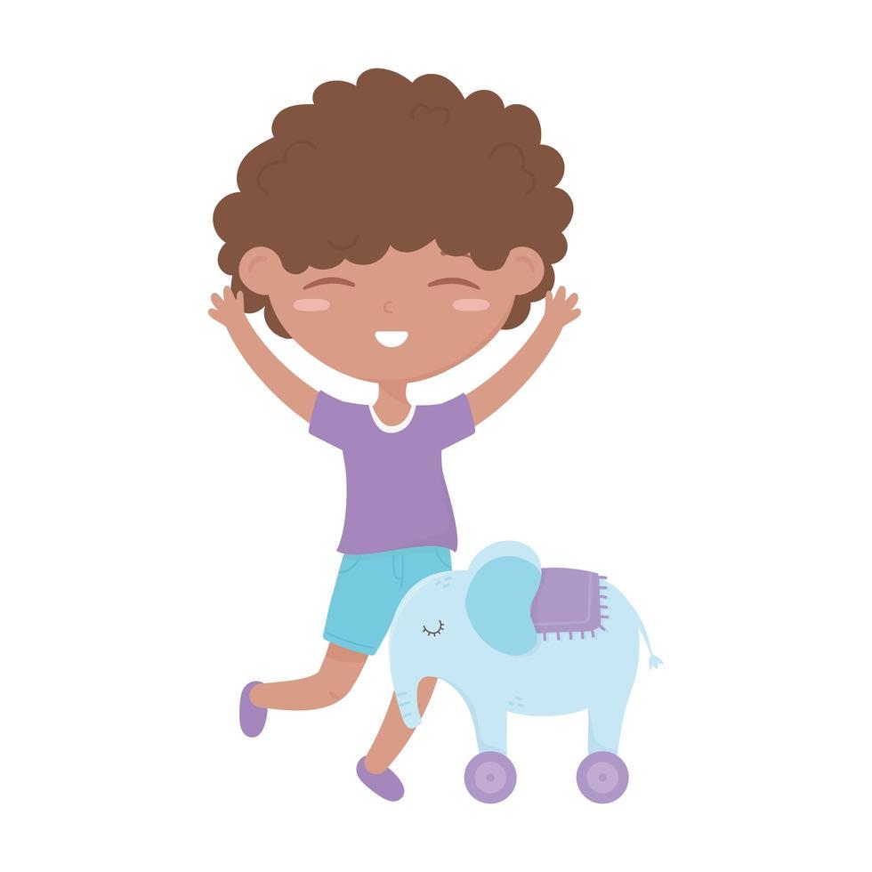 barn zon, söt liten pojke elefant med hjul leksak tecknad vektor