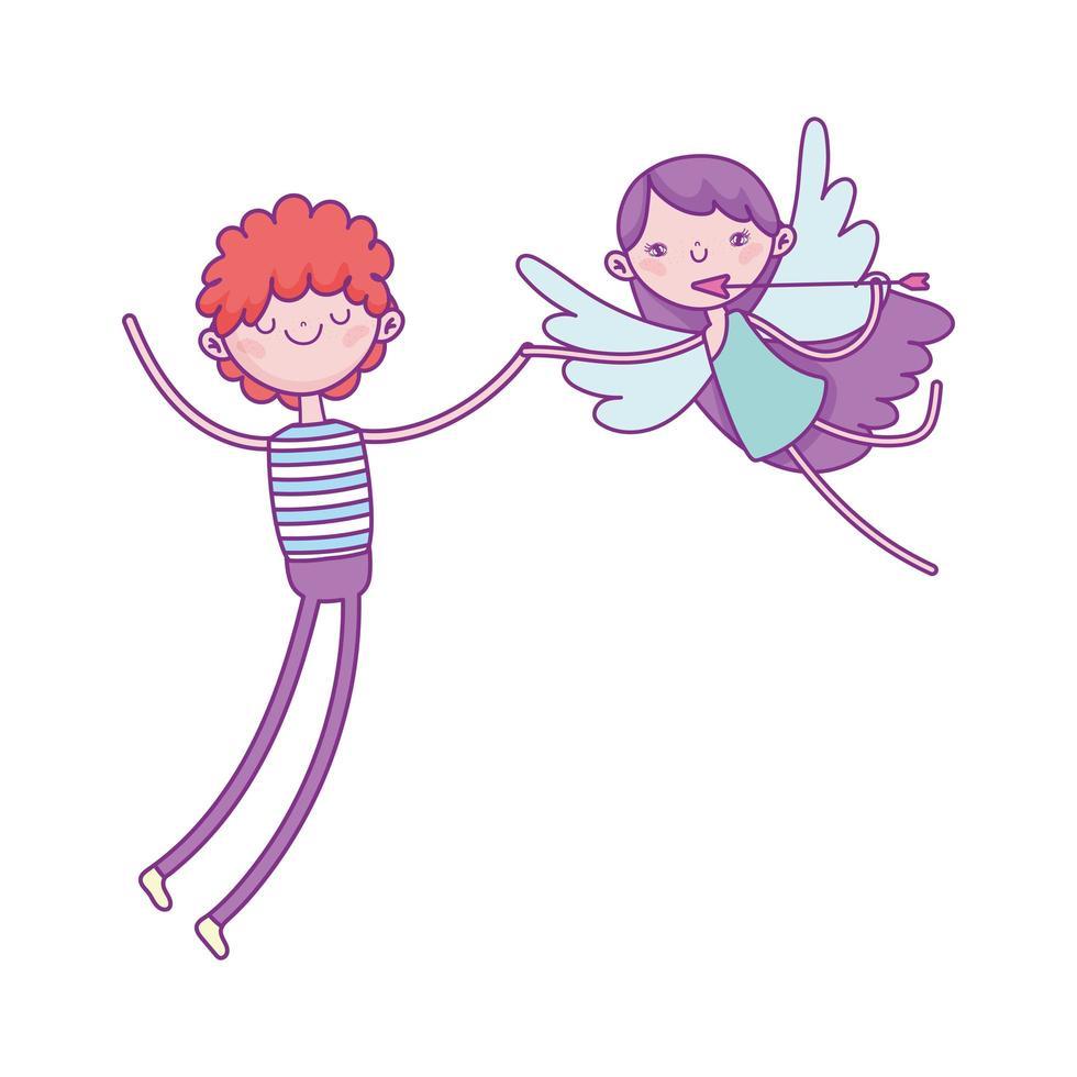 Glücklicher Valentinstag, Junge und Amor mit Pfeil lieben Karikatur vektor