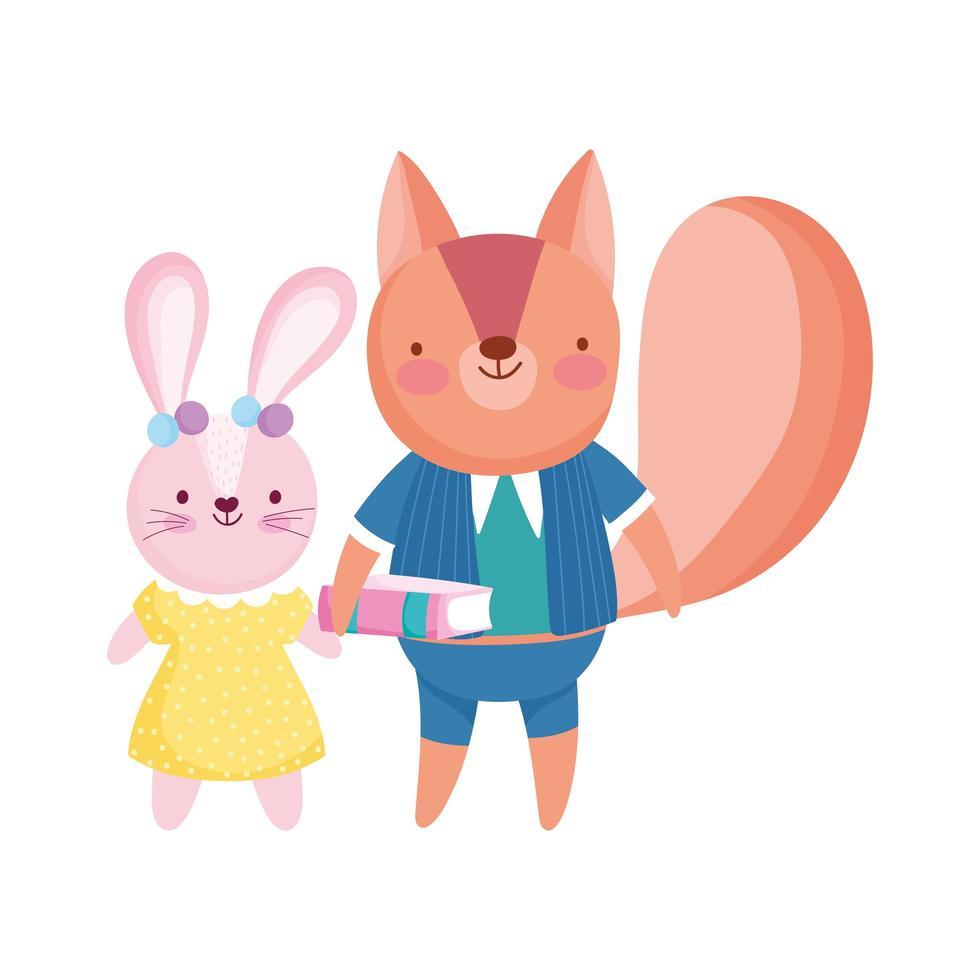 tillbaka till skolan, söt kanin och ekorre med boktecknad film vektor