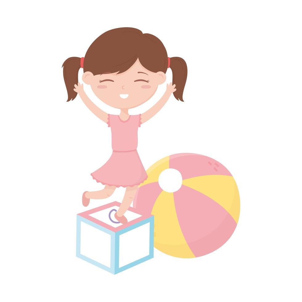 barnzon, söt liten flicka med block- och bollleksaker vektor