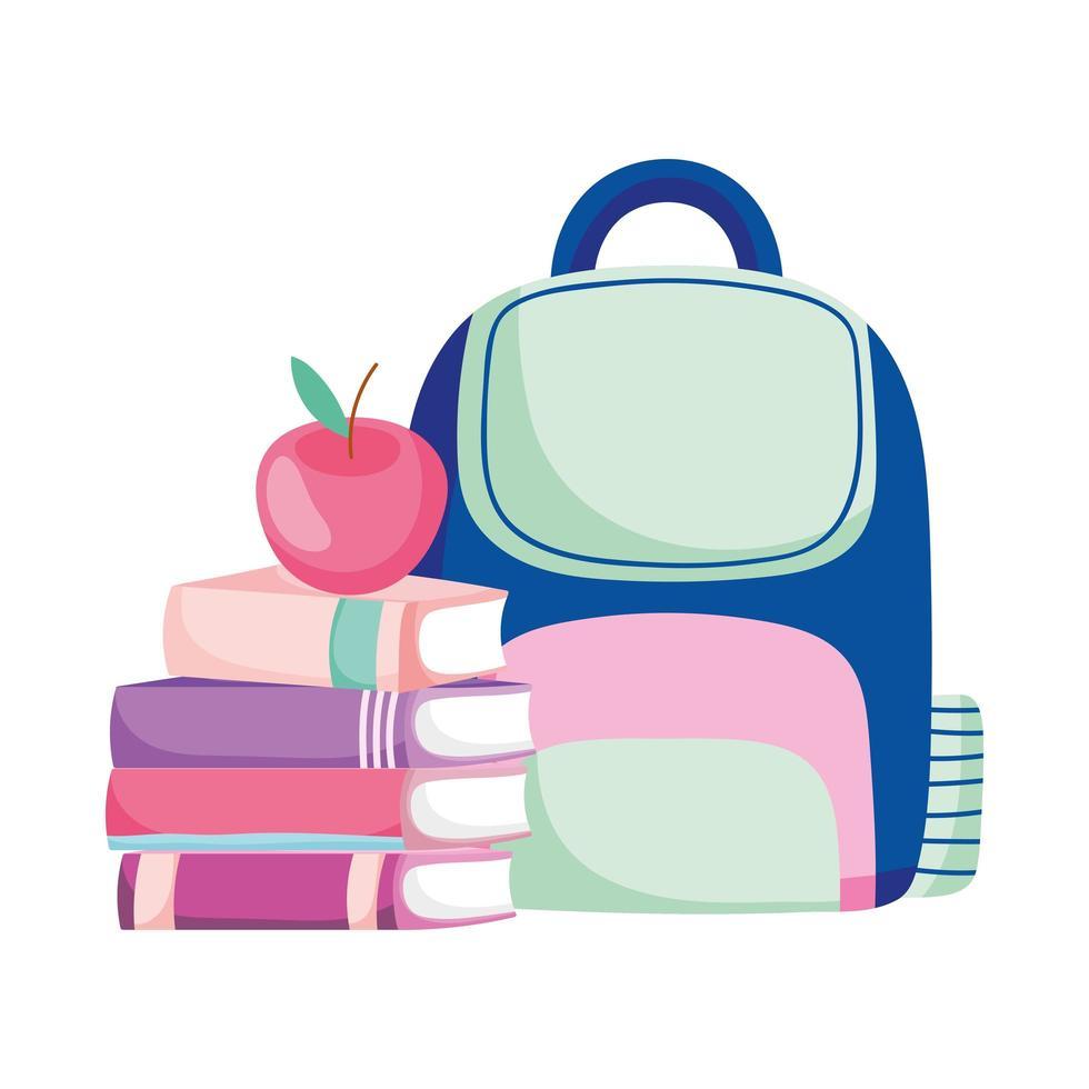 Zurück zur Schule gestapelte Bücher Apfel und Rucksack Cartoon vektor