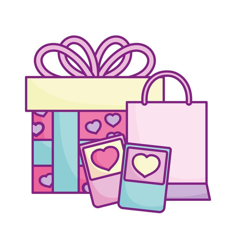 glad alla hjärtans dag, smartphone shoppingväska och present firande kärlek vektor
