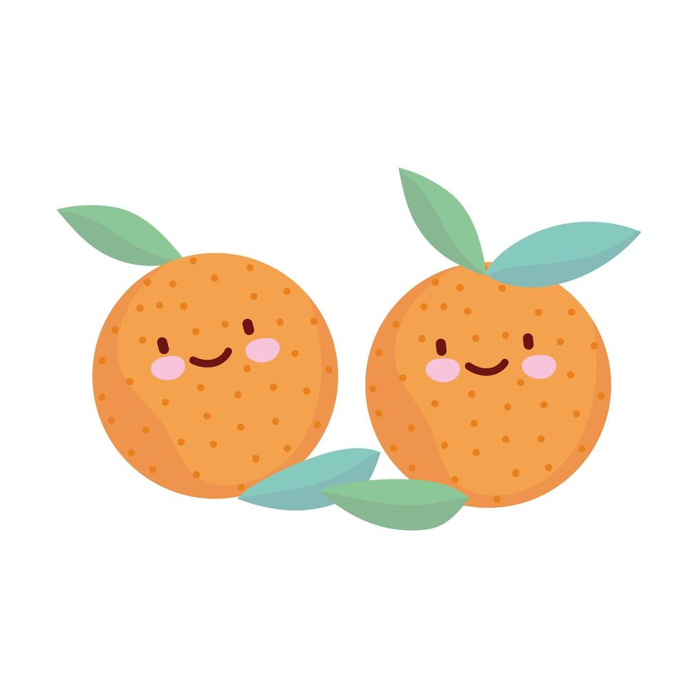 orange frukter lämnar menyn karaktär tecknad mat söt vektor