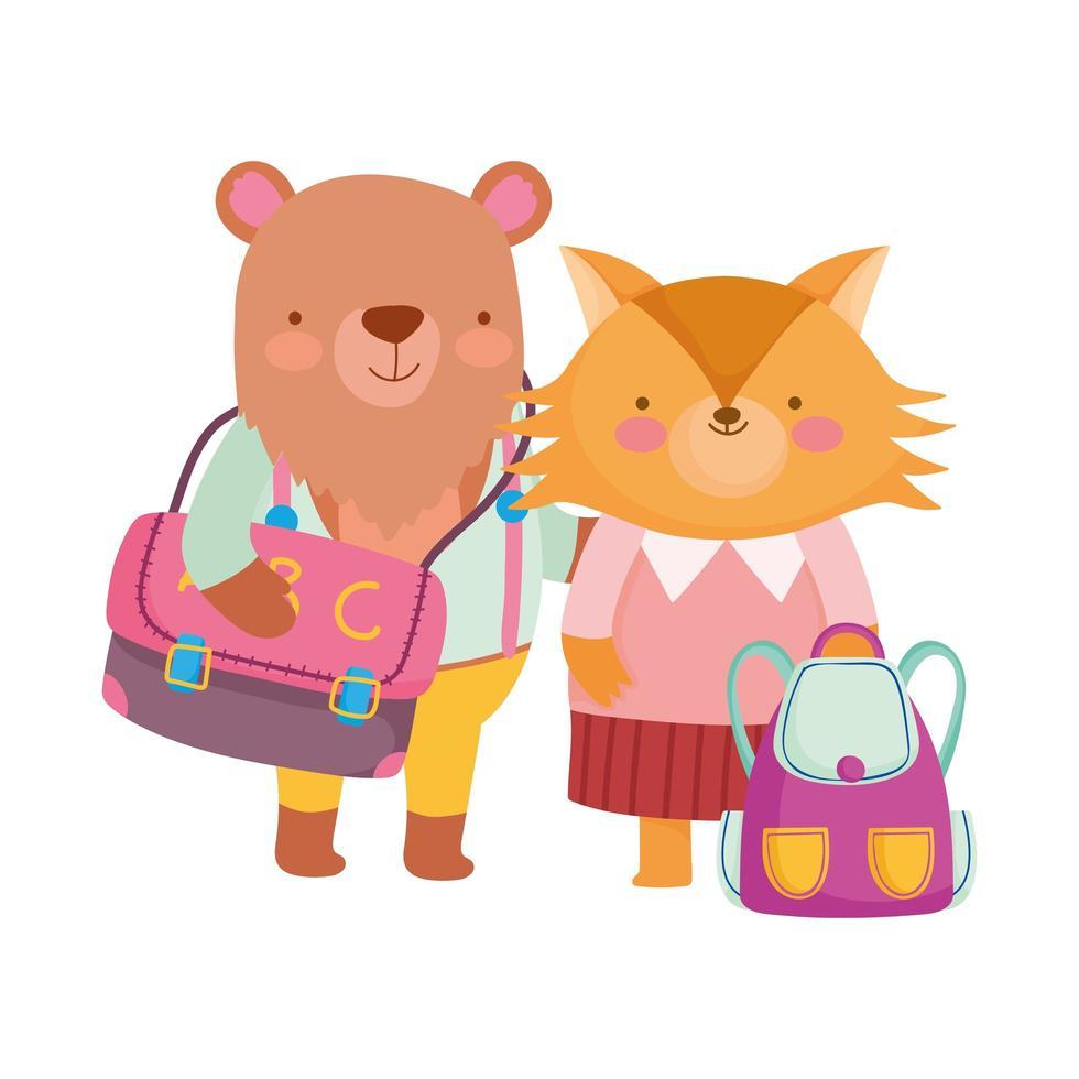 tillbaka till skolan, räv och björn med kläder och ryggsäckar vektor