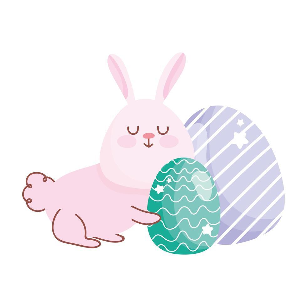 fröhliches Oster entzückendes Häschen mit Eierdekorationskarikatur vektor