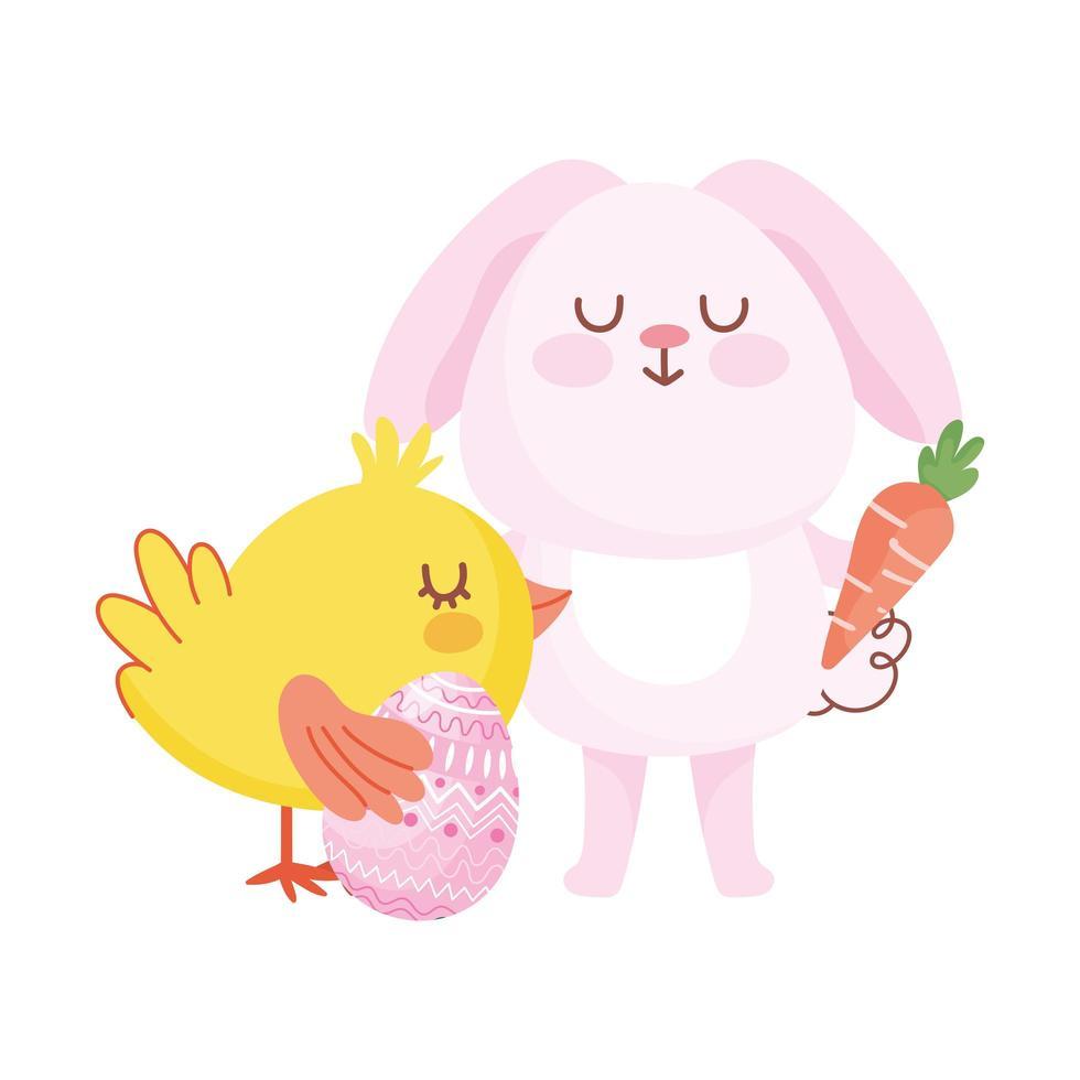 glad påskrosa kaninkyckling med morottecknad ägg vektor