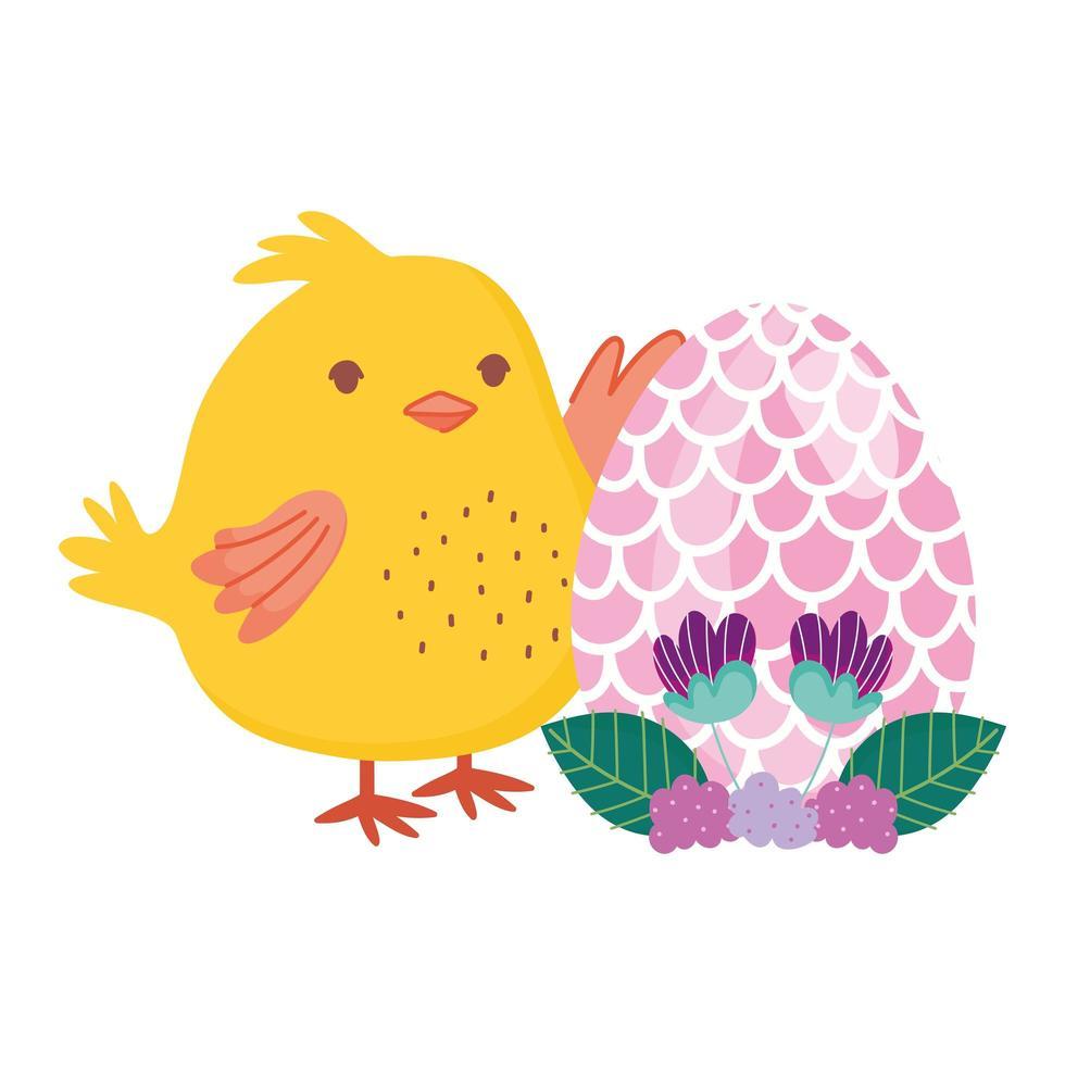 glückliches Osterhähnchen mit Eiblumen verlässt Dekoration vektor