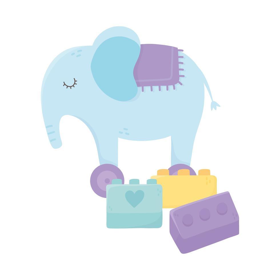 Kinderzone, Elefant und Ziegelbau Cartoon Spielzeug vektor