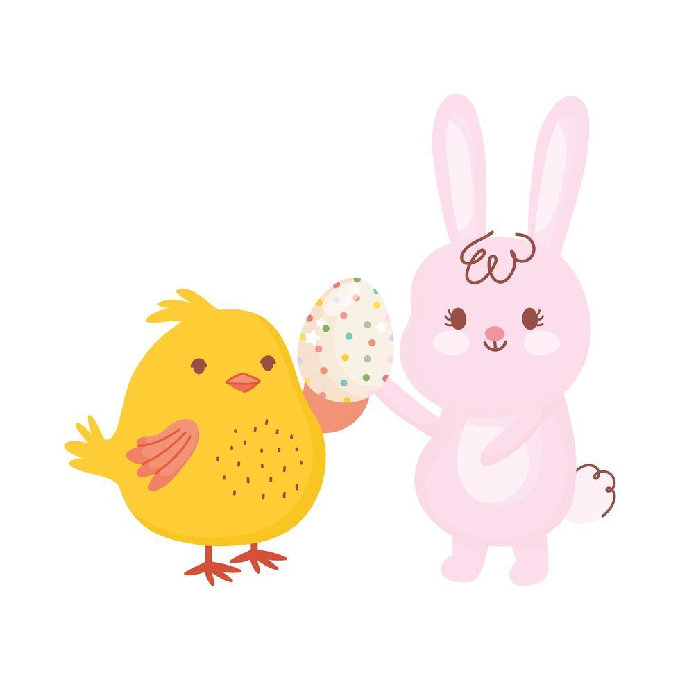 glad påskkanin och kyckling med prickigt ägg firande säsong vektor