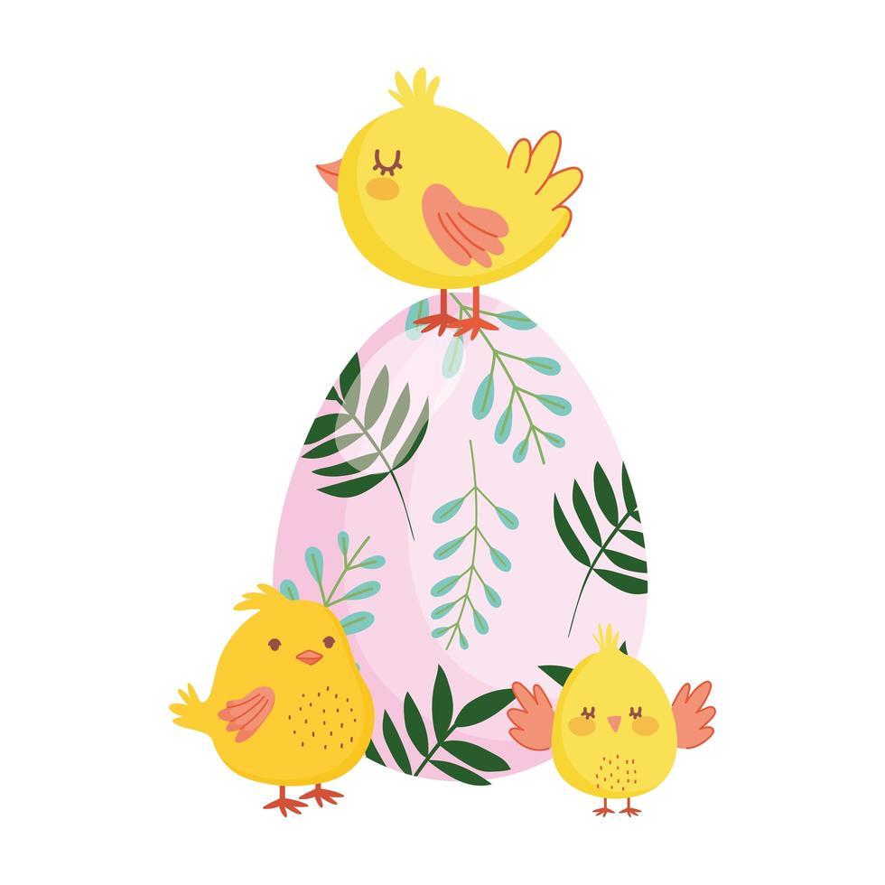 glückliche Osterniedliche Hühner färbten Eierblumen Laubnatur vektor