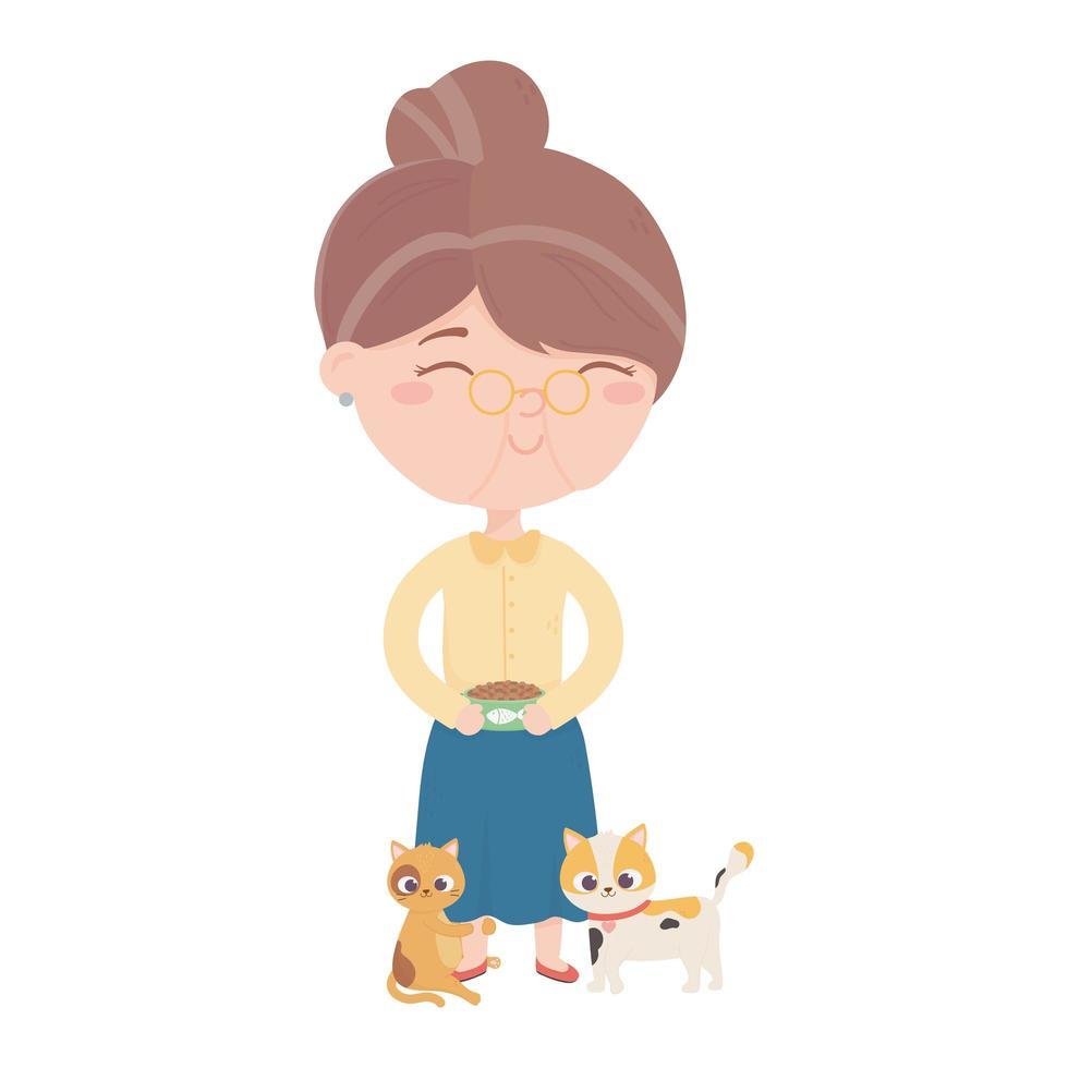 Katzen machen mich glücklich, alte Frau mit Schüsselfutter und Kätzchen Cartoon vektor