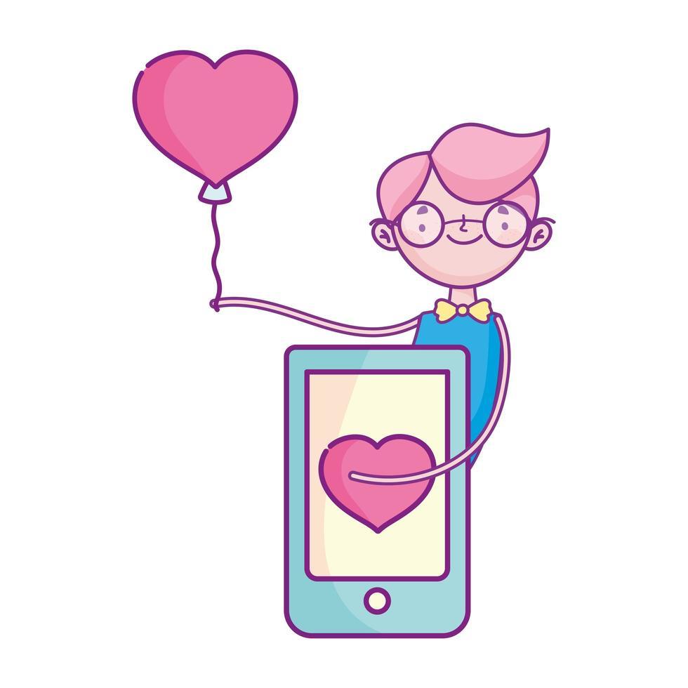 Glücklicher Valentinstag, Junge mit Smartphoneballonfeier vektor