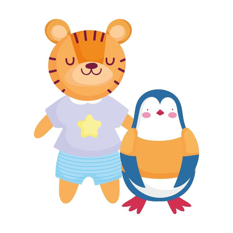 söt pingvin och tiger med kläder seriefigur vektor