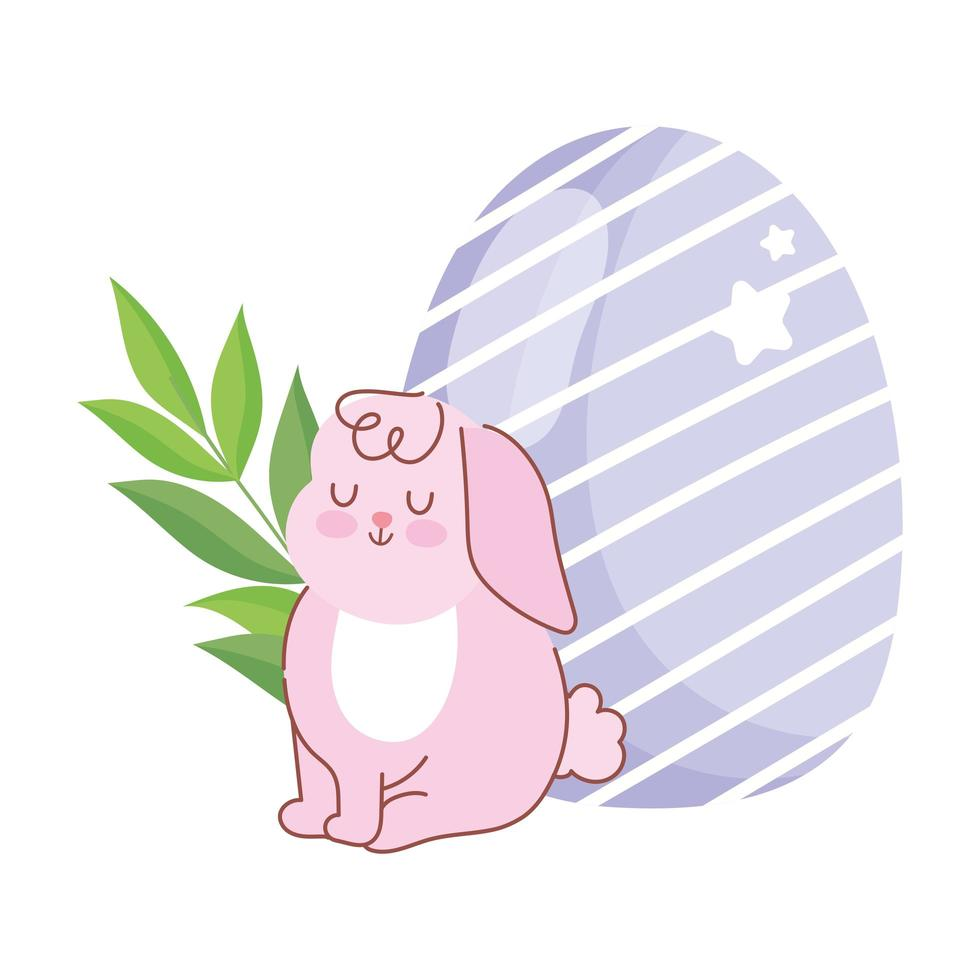 glad påskrosa kanin sitter med ägg gren dekoration vektor