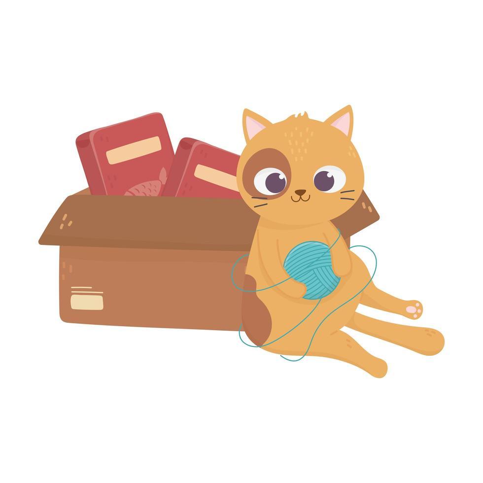 Katzen machen mich glücklich, Katze spielt Wollknäuel und Box mit Futter vektor