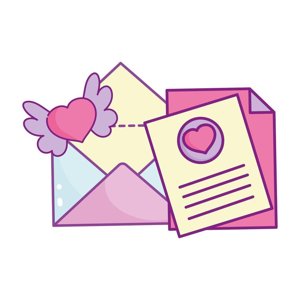 glücklicher Valentinstag, Nachrichtenumschlagbuchstabenherzen mit Flügeln vektor