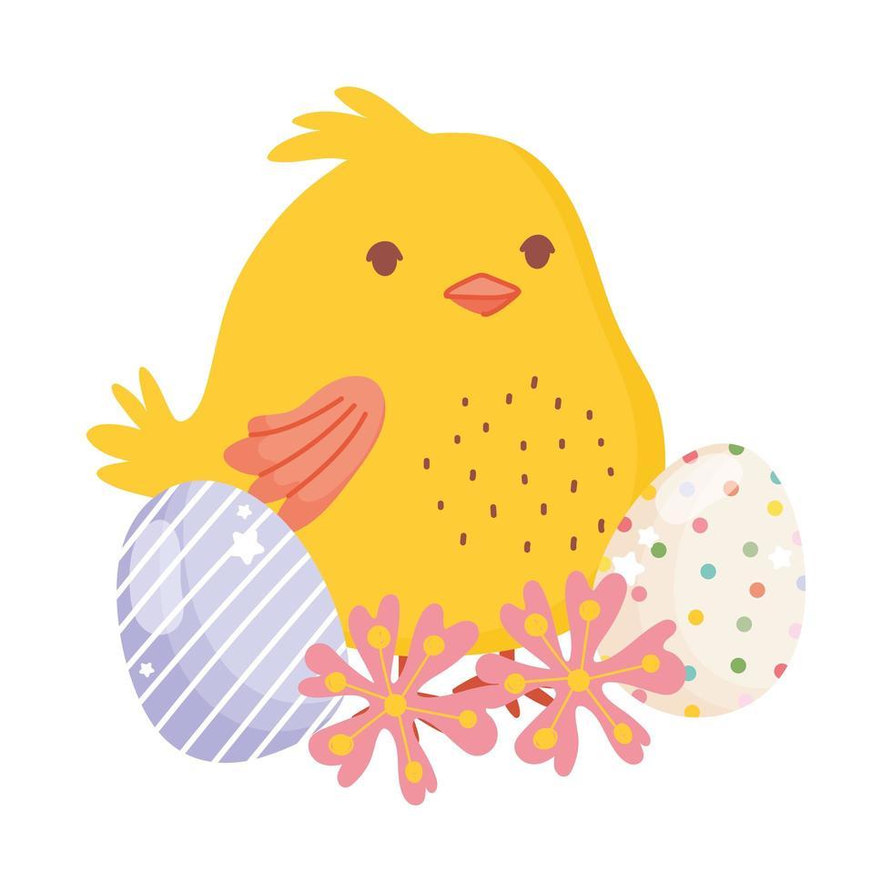 glad påsk söt kyckling dekorativa ägg blommor natur vektor
