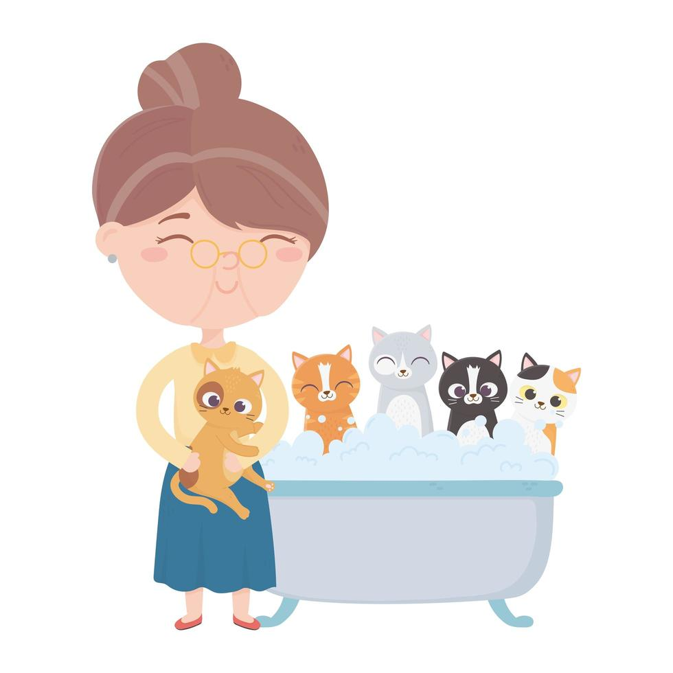 Katzen machen mich glücklich, alte Frau badet Katzen in der Badewanne vektor