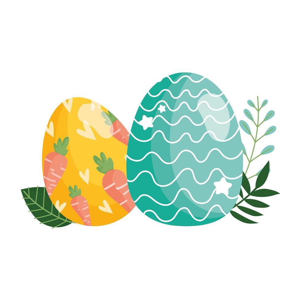 Happy Easter dekorative Eier mit Karotten und Linien Laub vektor