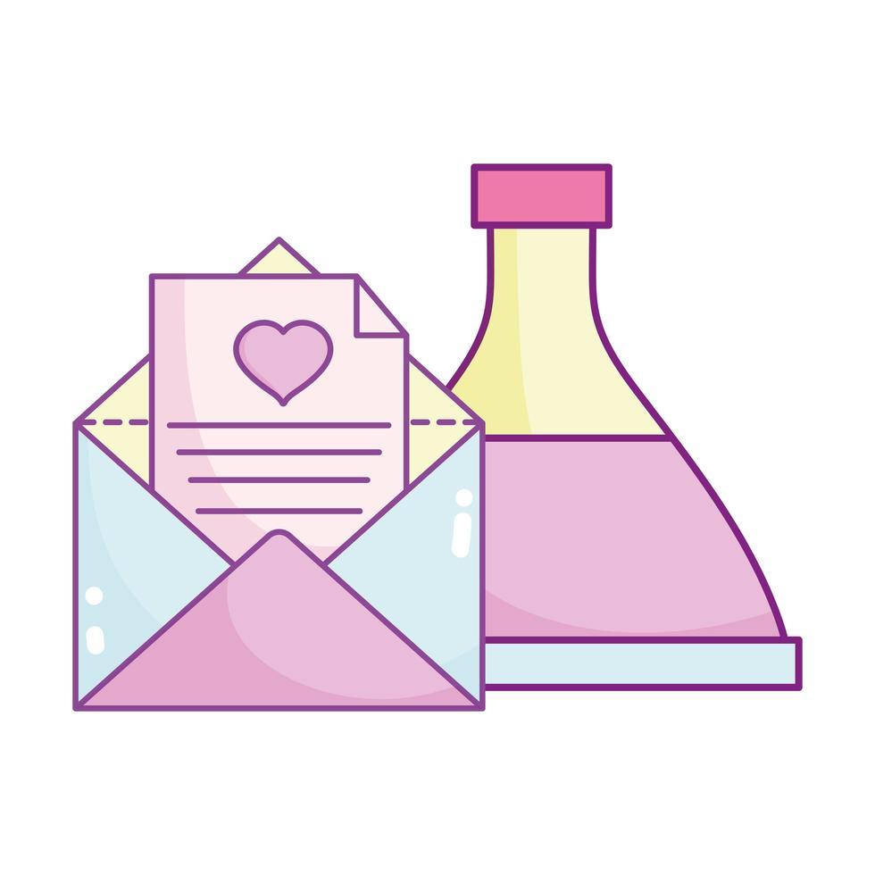Glücklicher Valentinstag, Umschlag Brief Liebestrank Flasche vektor