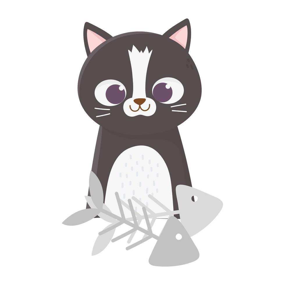 katter gör mig glad, söt svart katt med fiskben vektor