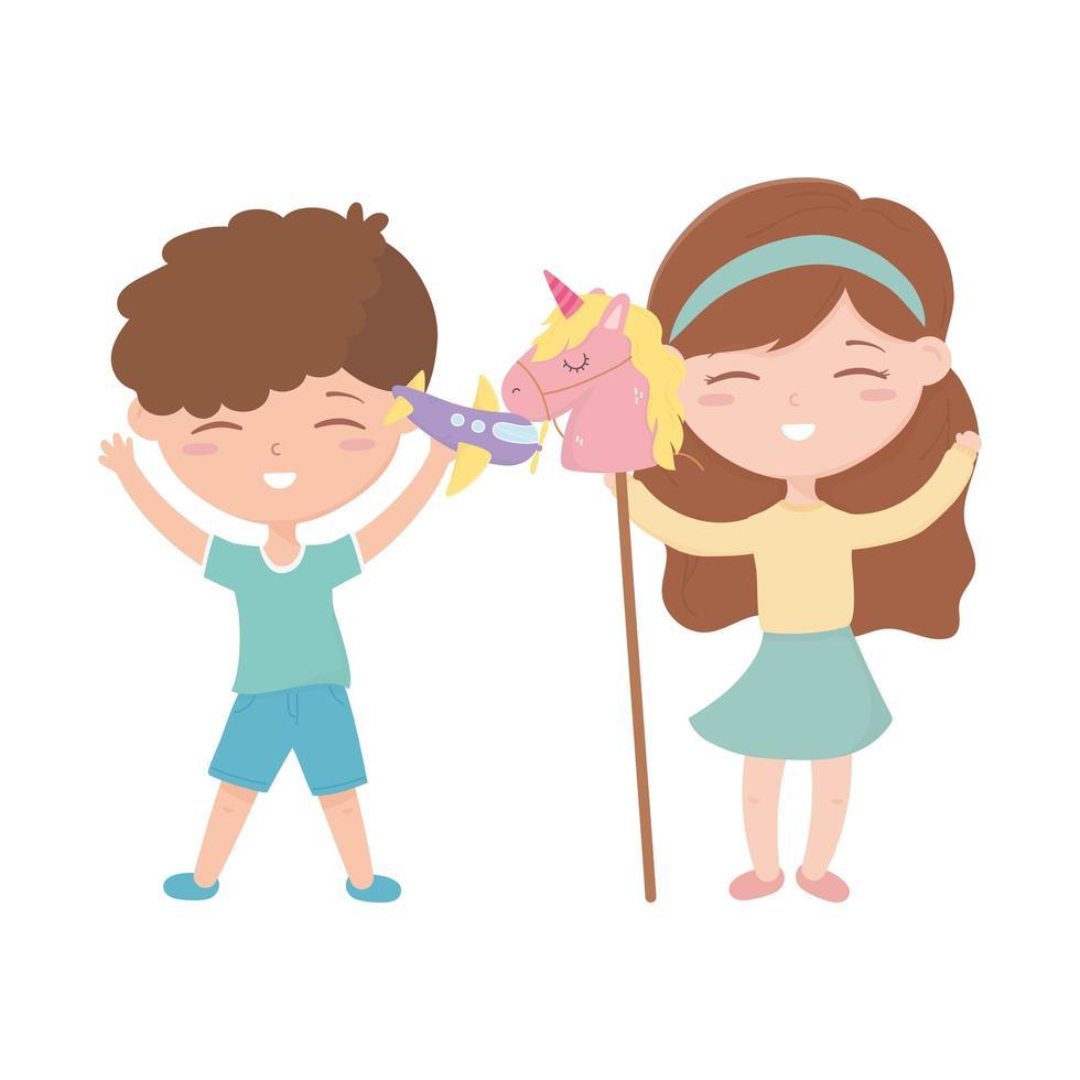 Kinderzone, niedlicher kleiner Junge und Mädchen mit Flugzeug- und Pferdestabspielzeug vektor