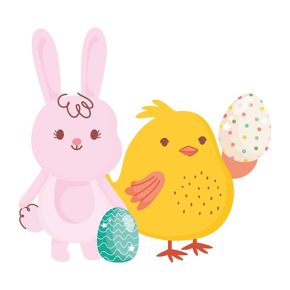 glückliches Osterhasenhuhn mit Eiern, die Dekorationskarikatur verzieren vektor