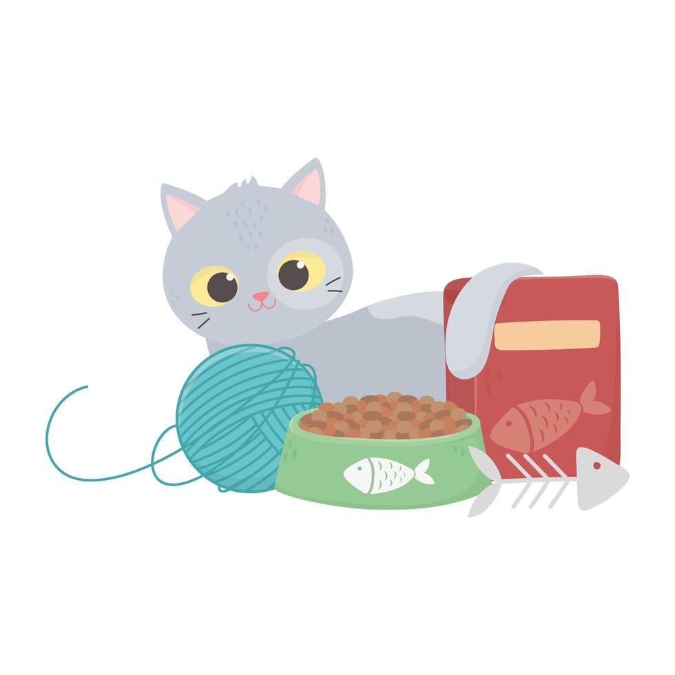 katter gör mig lycklig, katt med mat boll fiskben vektor