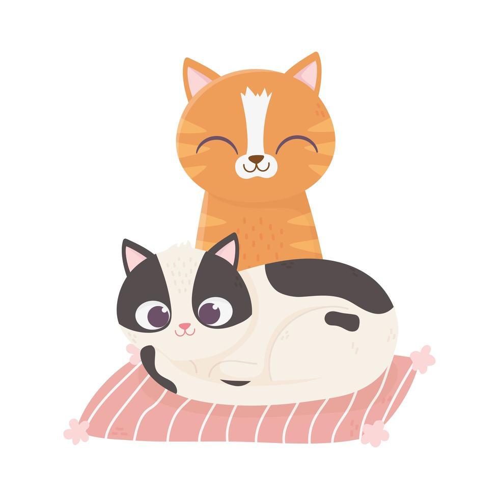 katter gör mig lycklig, söta katter i kuddetecknad film vektor