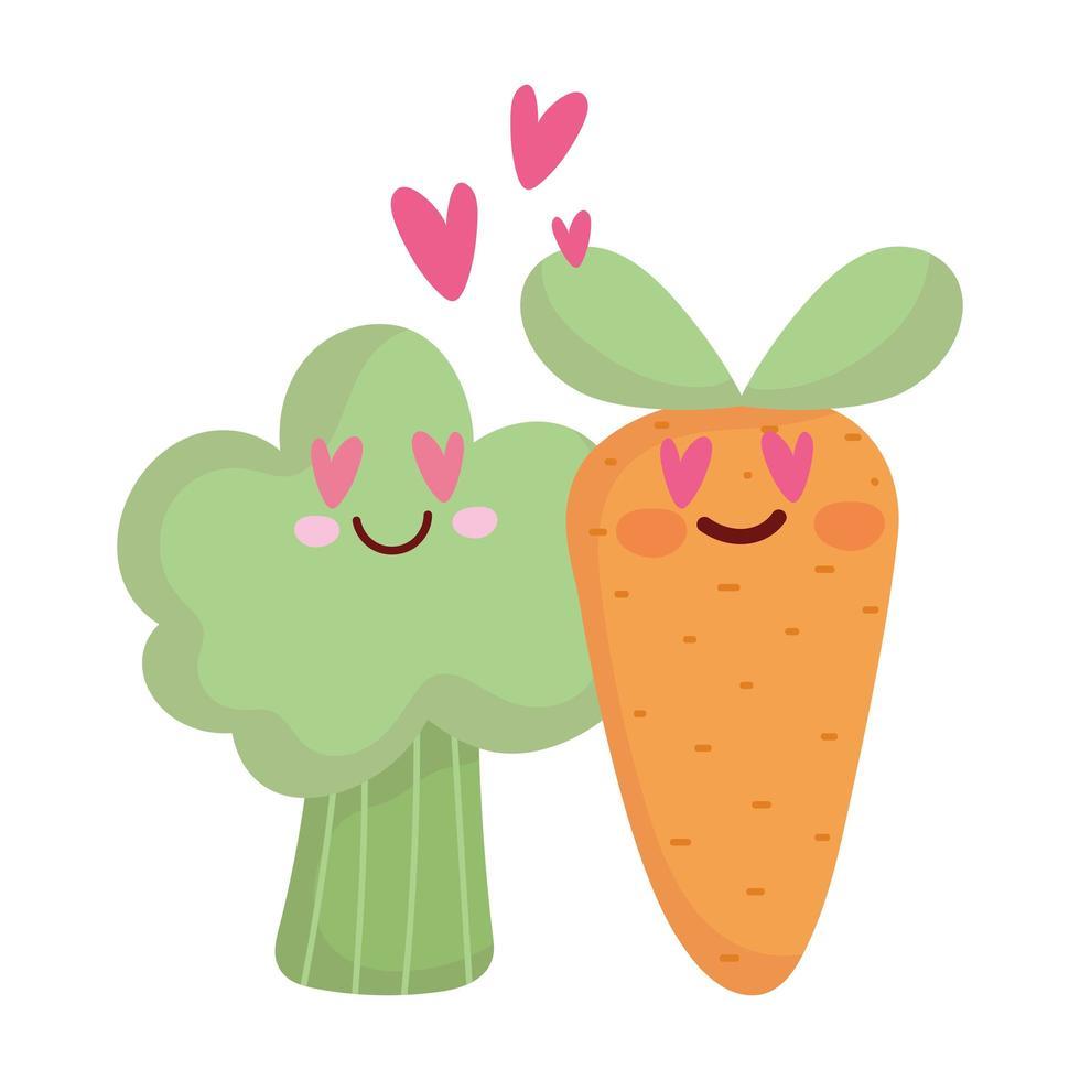 morot och broccoli i kärlek meny karaktär tecknad mat söt vektor