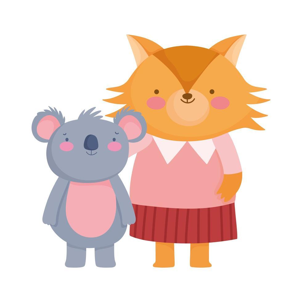 zurück zur Schule, Fuchs und Koala mit Kleiderkarikatur vektor