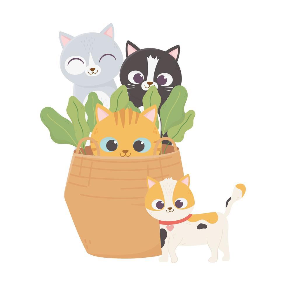 Katzen machen mich glücklich, Haustiere Katzen in Weidenkorb Pflanzen Cartoon vektor