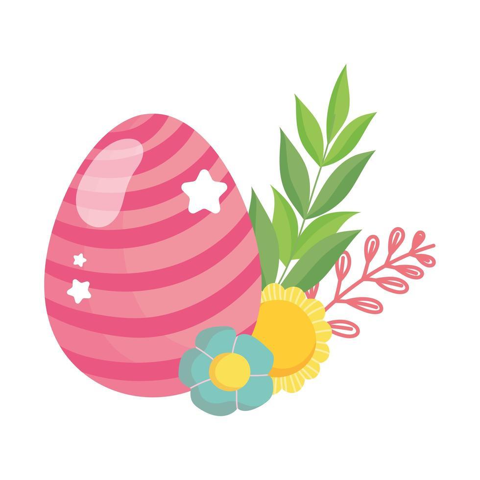 glad påsk randig rosa ägg blommor lövverk dekoration vektor