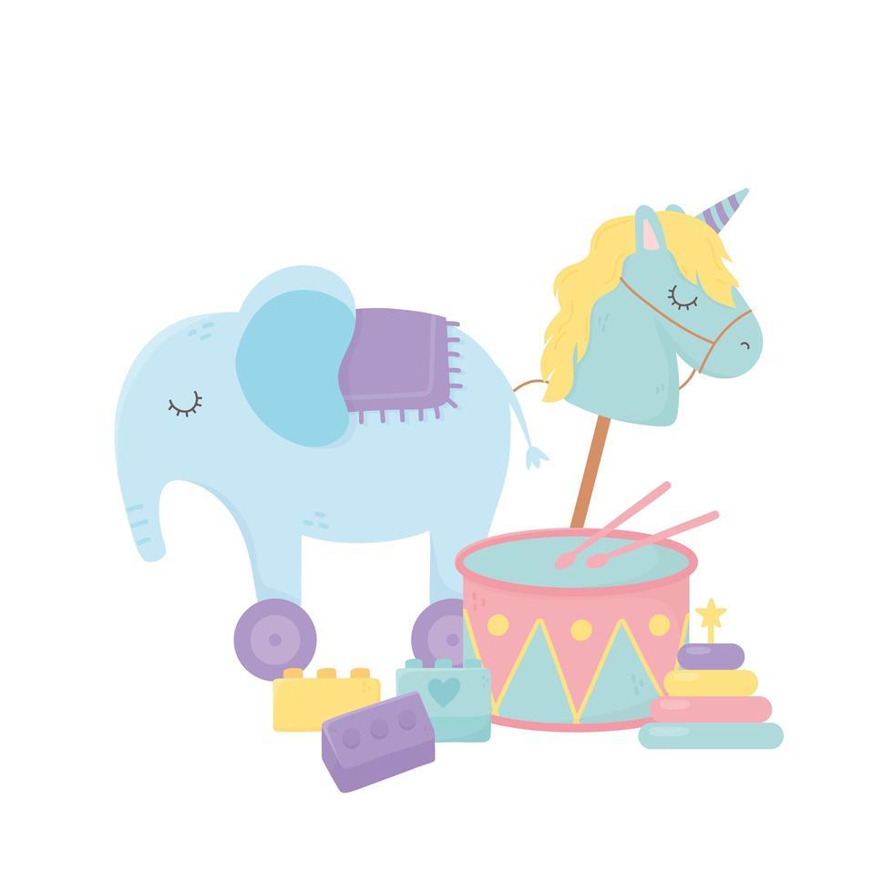 Kinderzone, Spielzeug Elefant Pferd Trommelblöcke vektor