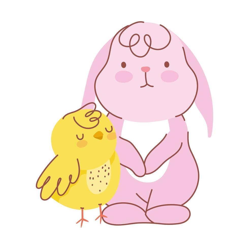 glückliches osterrosa Kaninchen mit Hühnerkarikatur vektor