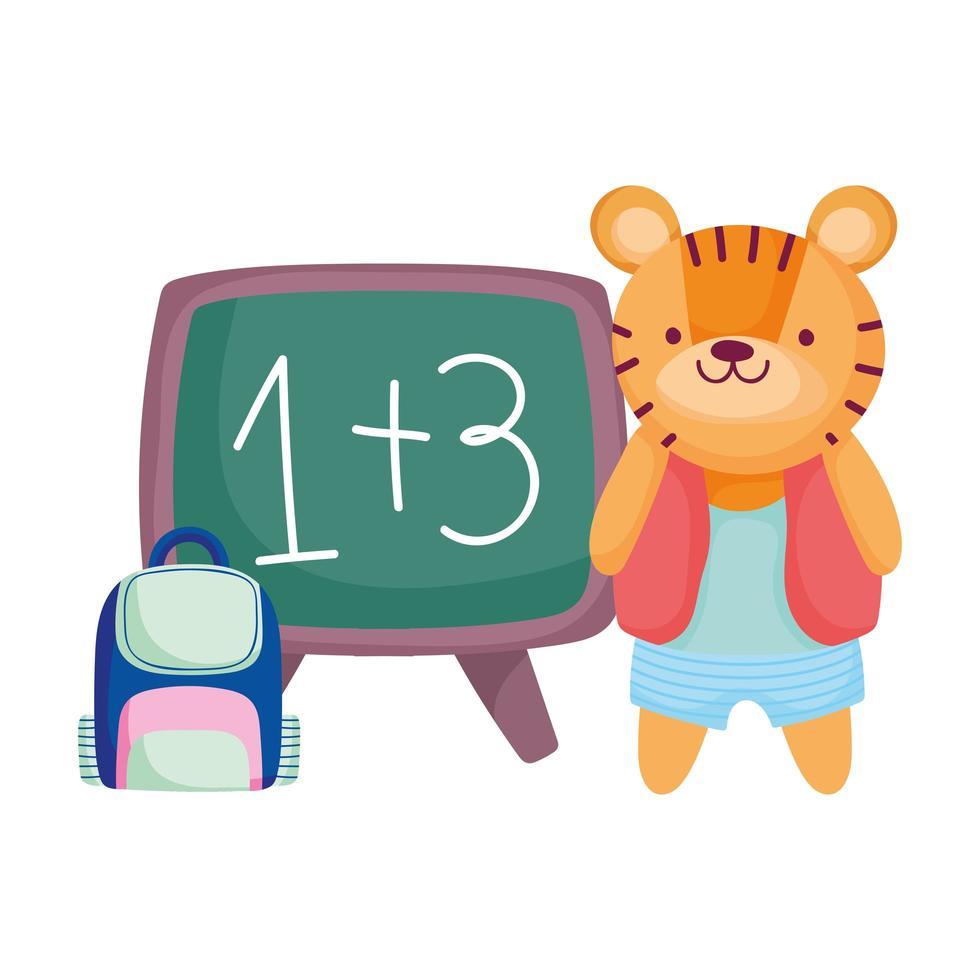 zurück zur Schule, süßer Tiger mit Rucksack und Tafelkarikatur vektor