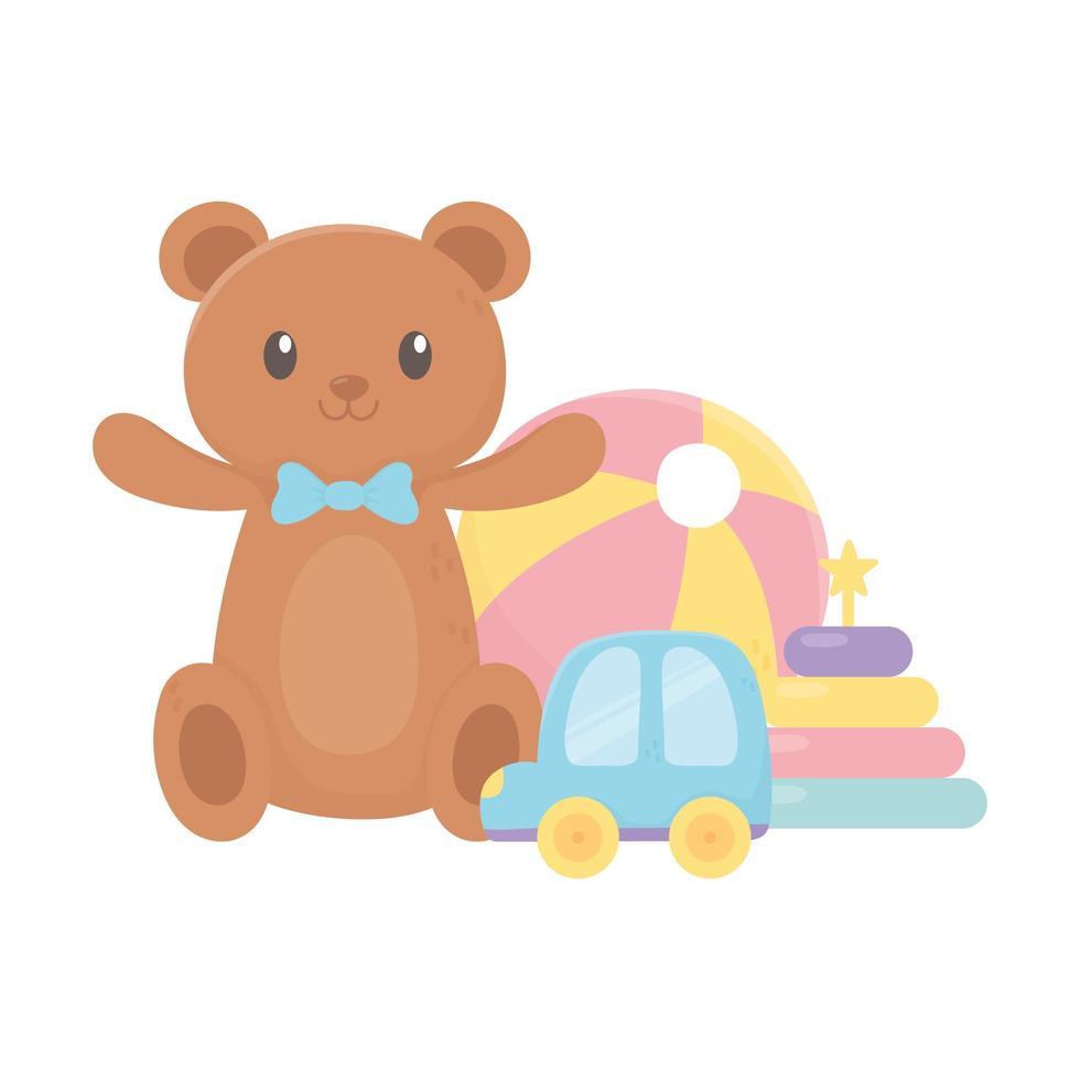 Kinderzone, Teddybär Auto Stapelturm Plastikball Cartoon Spielzeug vektor