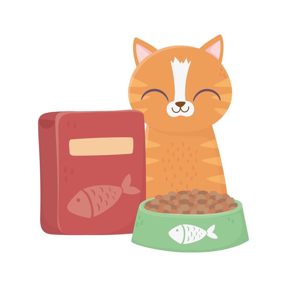 Katzen machen mich glücklich, Tabby Katze mit Schüssel und Schachtel Futter vektor