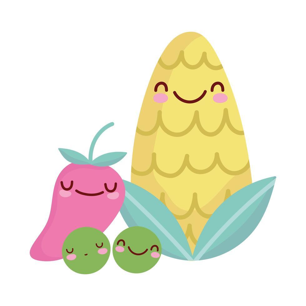 majsärtor och peppar meny karaktär tecknad mat söt vektor