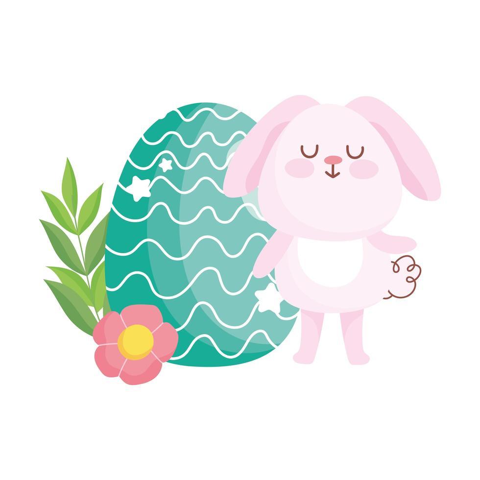 niedlicher Hase des glücklichen Osters mit grüner Ei-Blumenkarikaturdekoration vektor