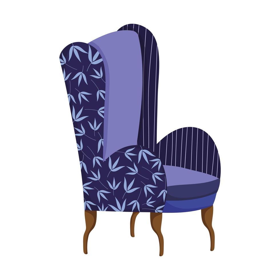 blaue Stuhlmöbel Komfort isolierte Ikone vektor