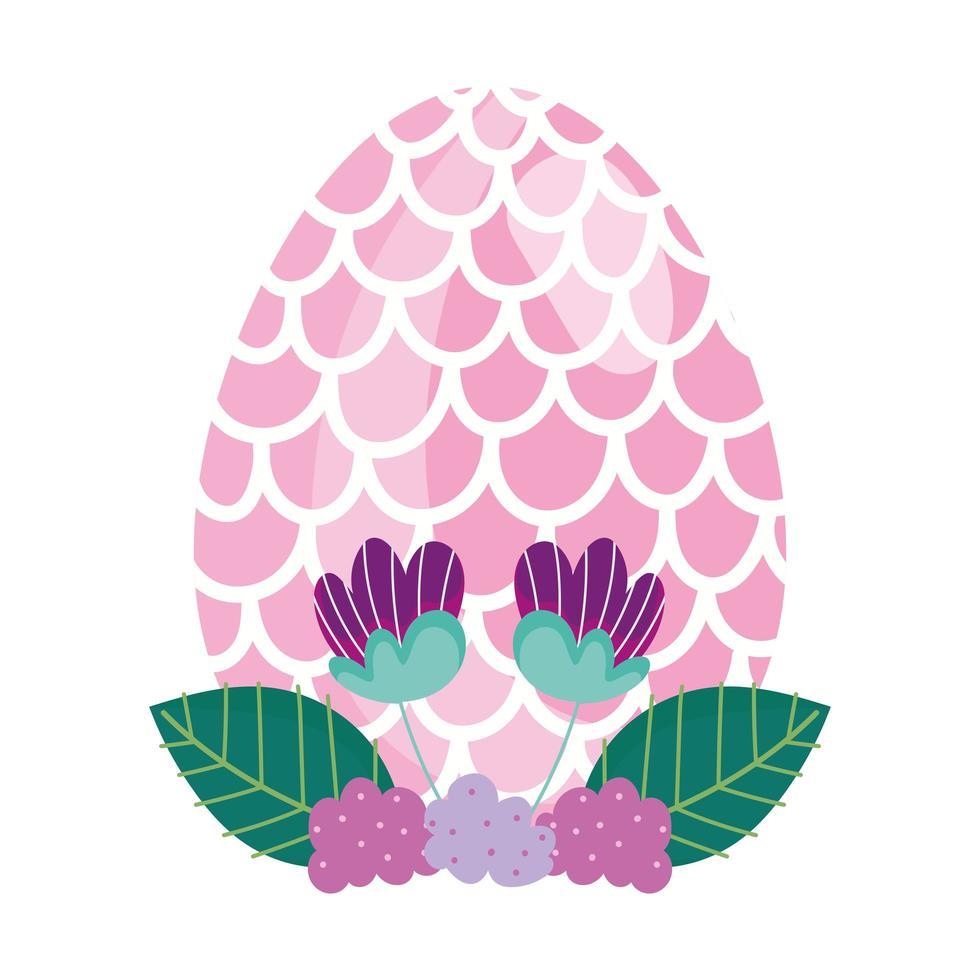 glückliches Osterei verziert mit Form der Fischschuppenblumen vektor