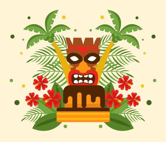 Polynesian Födelsedag Med Tiki Vector