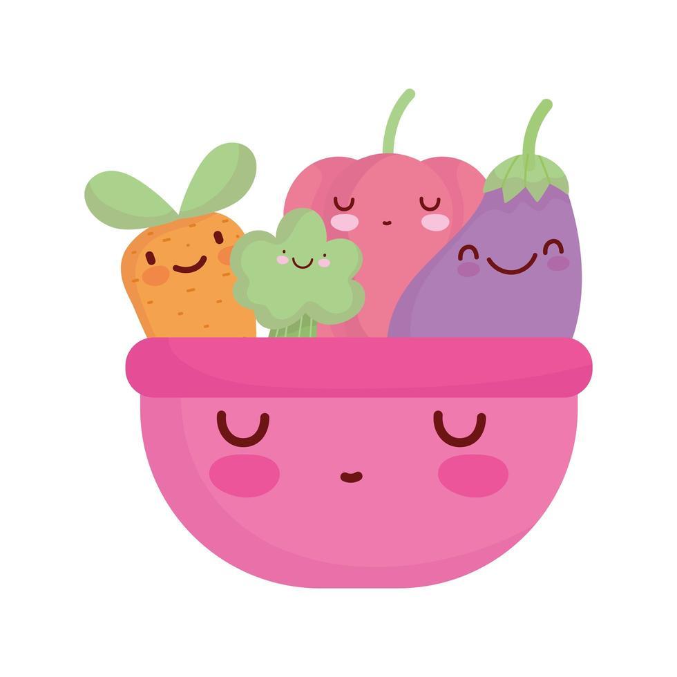 rosa Schüssel mit Gemüse Menü Charakter Cartoon Essen süß vektor