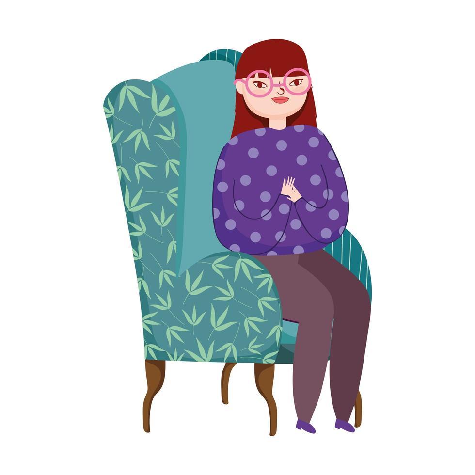 junge Frau im grünen Sofamöbel isolierte Ikone vektor