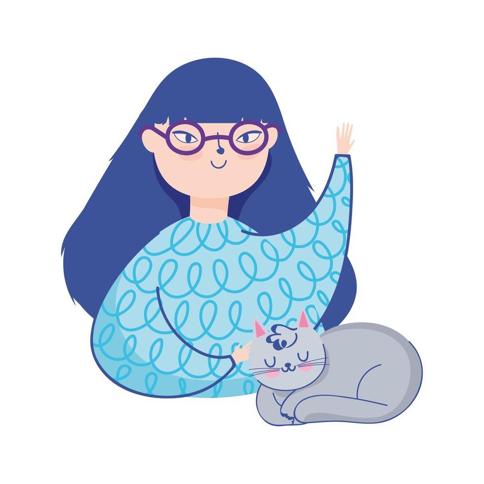 ung kvinna med glasögon och grå katt isolerad bild vektor