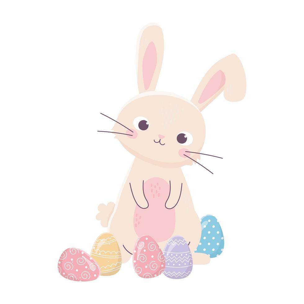 Glücklicher Ostertag, niedliches Kaninchen zarte Eierdekorationskarikatur vektor