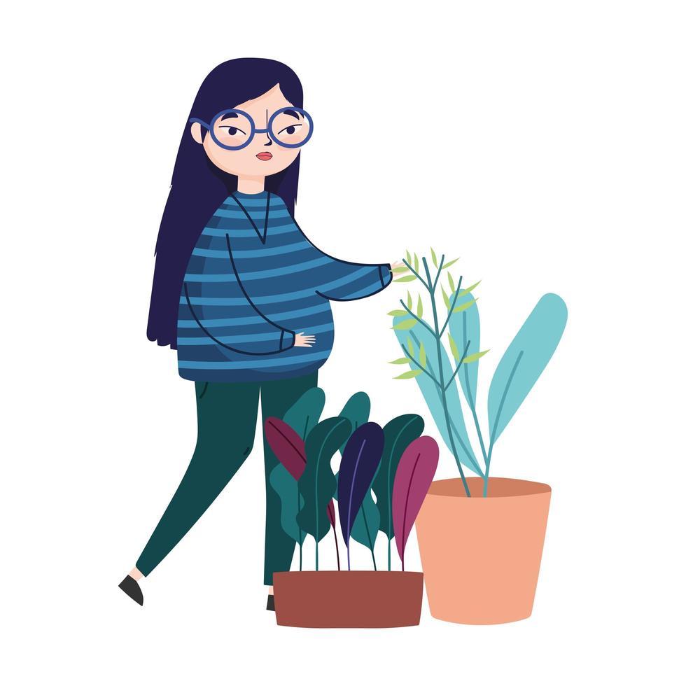 junge Frau mit Gläsern und Topfpflanzendekoration vektor
