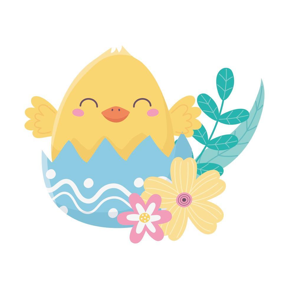 glad påskdag, kyckling äggskal blommor lämnar dekoration kort vektor